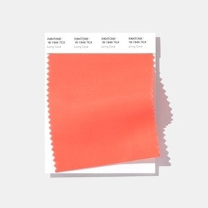 Pantone 2019 Color of the Year Living Coral color fabric swatch