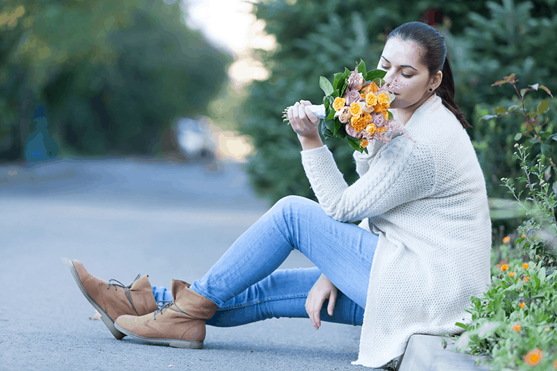 woman with flower bouquet